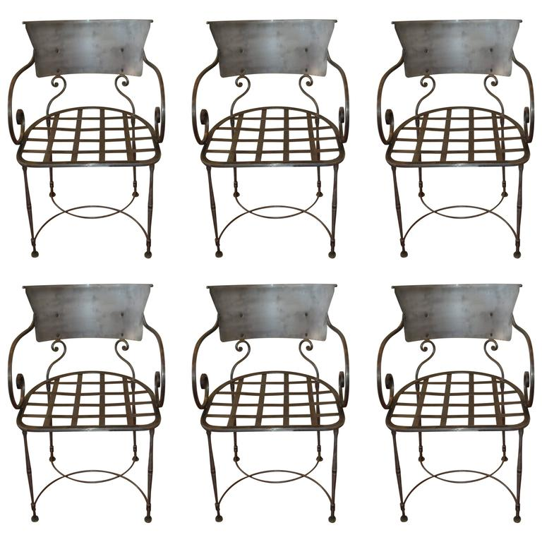 Set of Six Hand-Forged Wrought Iron Dining Chairs