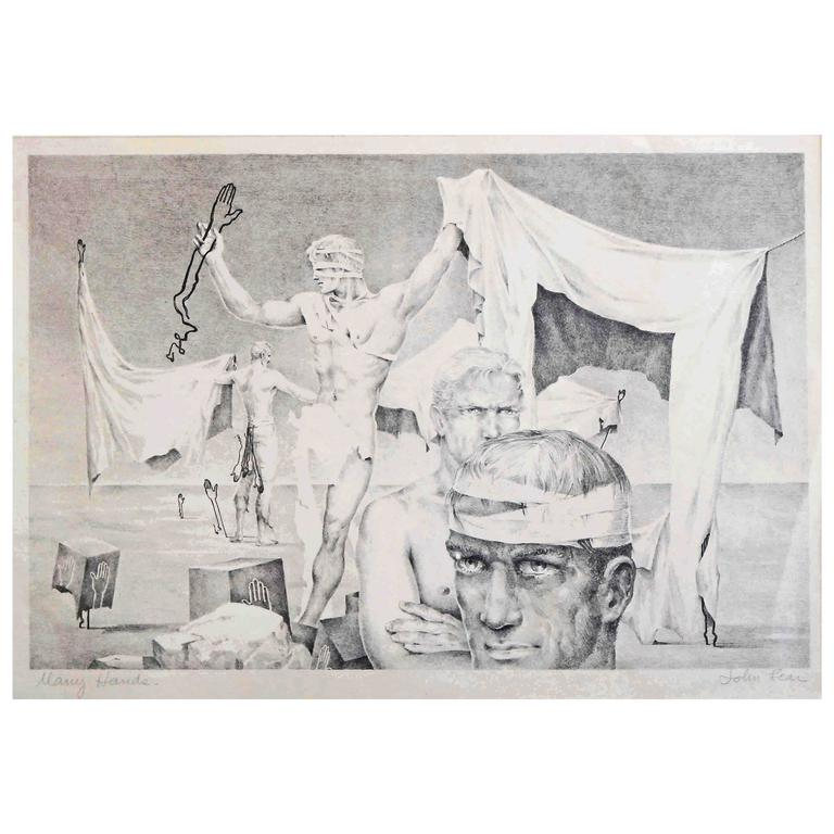 """""""Many Hands,"""" Rare Surrealist Lithograph with Male Nudes by John Lear, 1930s For Sale"""