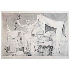 """Many Hands,"" Rare Surrealist Lithograph with Male Nudes by John Lear, 1930s"