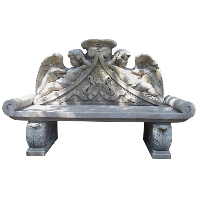 Winged Cherubs Carved Limestone Garden Bench from Italy For Sale