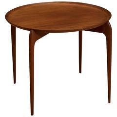 Danish Round Teak Tray Side Table