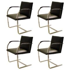 Mies Van Der Rohe for Knoll Brno Chrome and leather Chairs, circa 1970s