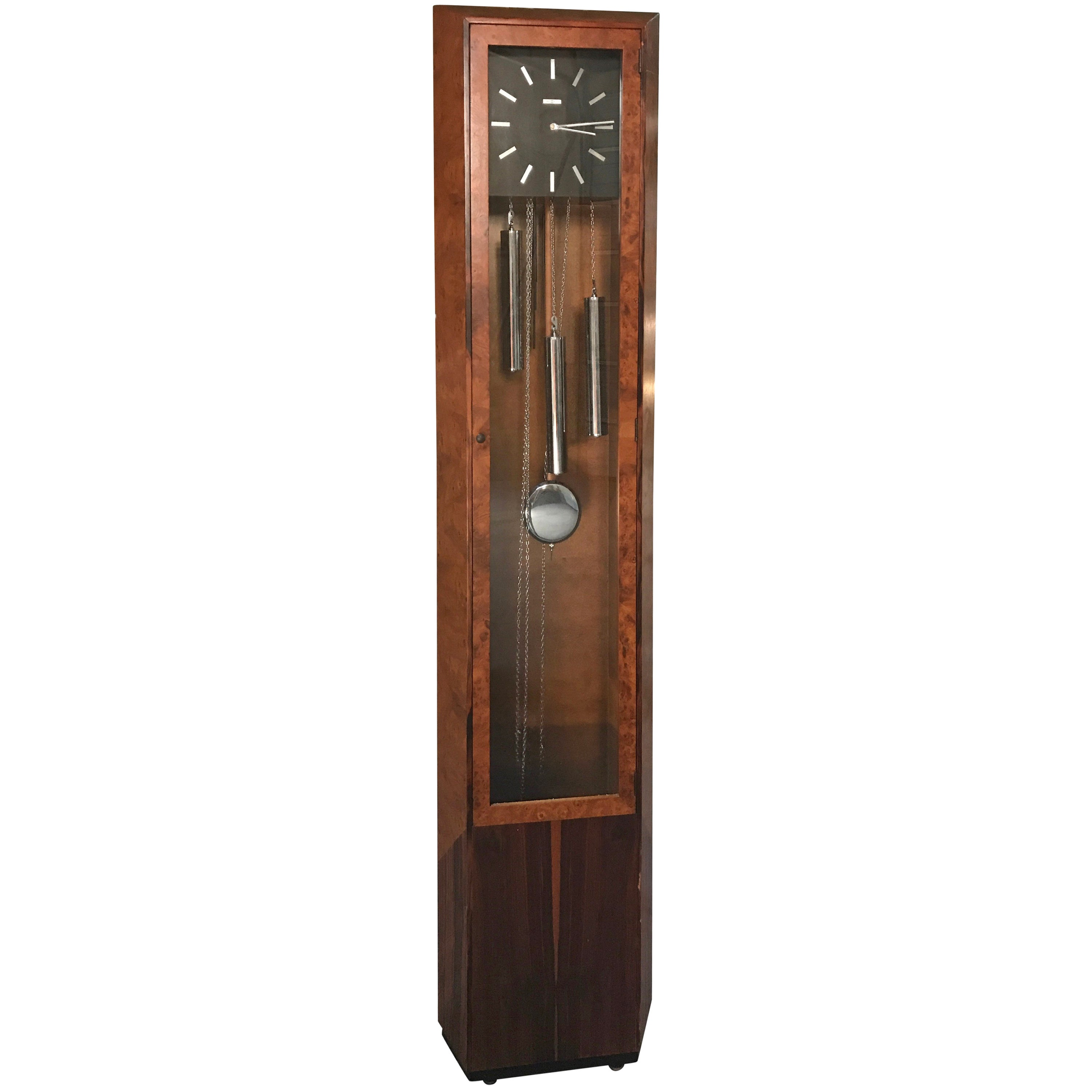 Rare George Nelson Howard Miller Burl and Rosewood Grandfather Clock
