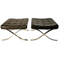 Mies Van Der Rohe for Knoll Pair of Barcelona Ottomans, circa 1970s