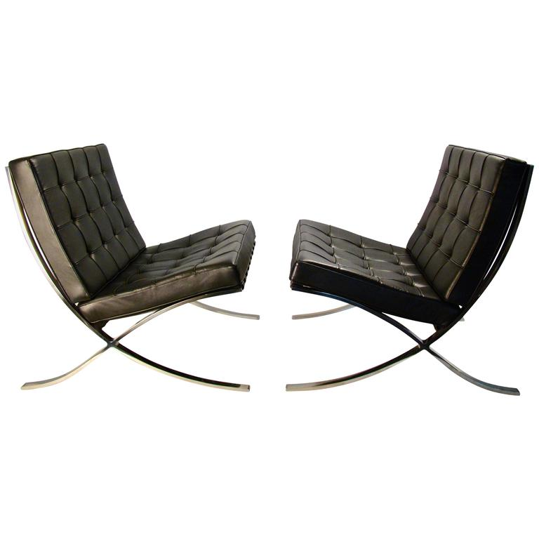 mies van der rohe for knoll pair of barcelona chairs circa 1970s for sale at 1stdibs. Black Bedroom Furniture Sets. Home Design Ideas