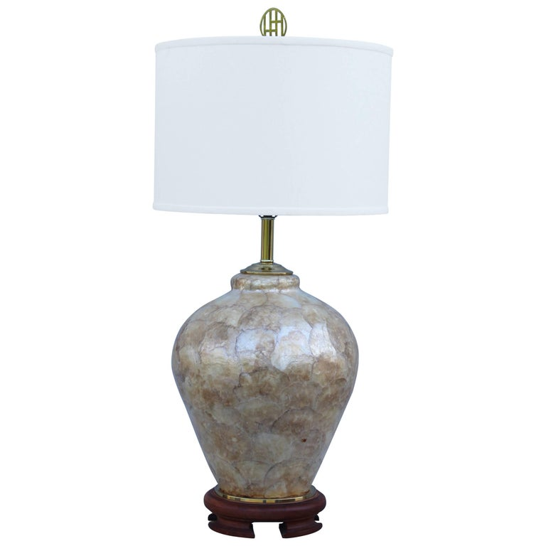 1970s Capiz Shell Table Lamp For Sale
