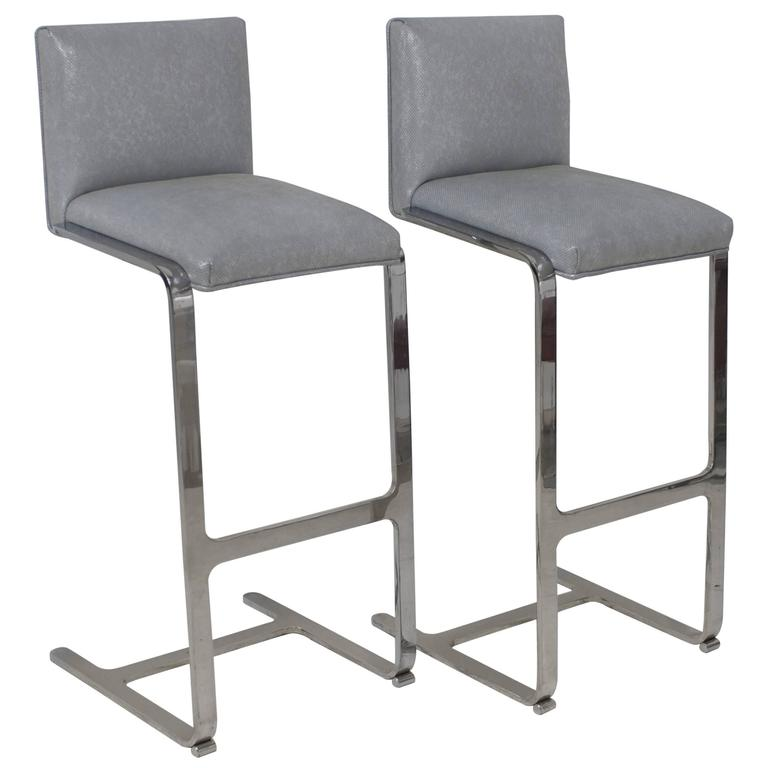 Pair Of Bar Height Flat Bar Polished Steel Bar Stools For
