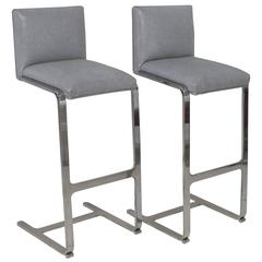Pair of Bar Height Flat Bar Polished Steel Bar Stools