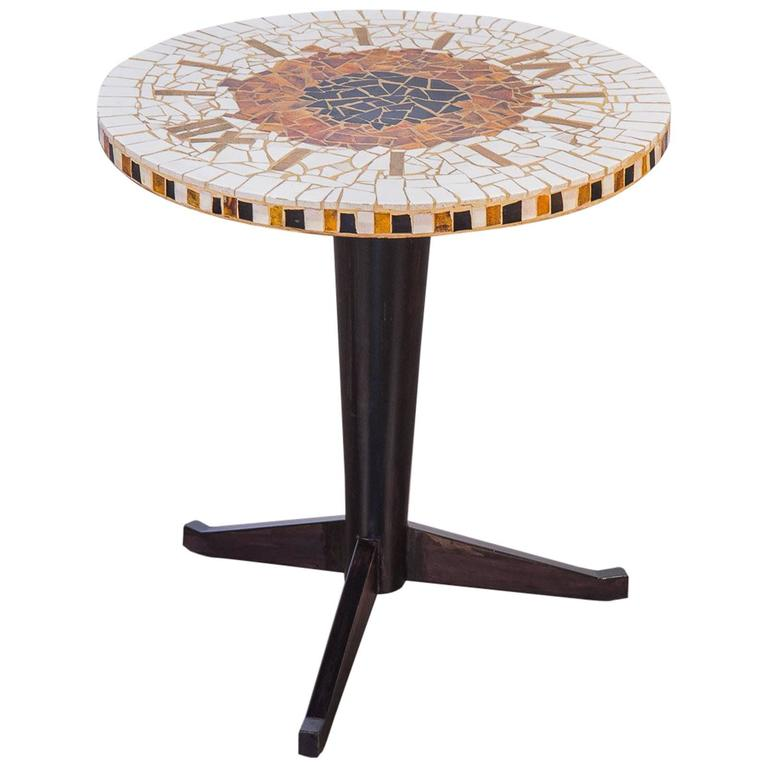 Italian Mosaic Clock Side Table For Sale At 1stdibs