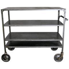 1940 Vintage Rolling Steel Industrial Cart