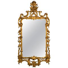 1940s Carved Giltwood Italian Wall Mirror