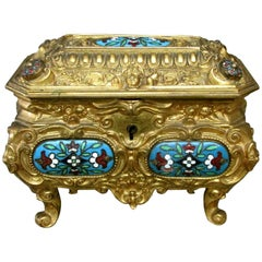 An Early 20th Century Rococo Inspired Gilt Bronze & Enamel Jewellery Casket