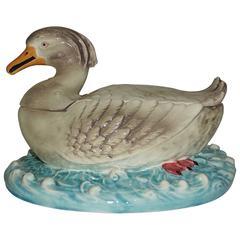 Majolica Duck Tureen Sarreguemines, circa 1880