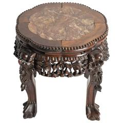 Chinese Carved Rosewood and Marble Side Table
