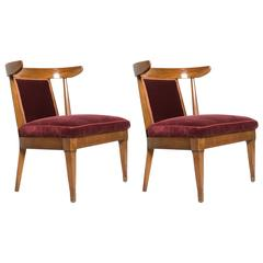 Pair of Mid-Century Horned Walnut Low Chairs