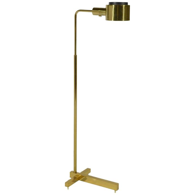 Casella adjustable pharmacy floor lamp in brass for sale for Casella brass floor lamp
