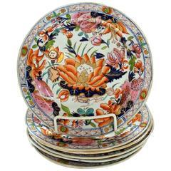 "Six Antique English Early Mason's Ironstone ""Water Lily"" Pattern Dessert Plates"