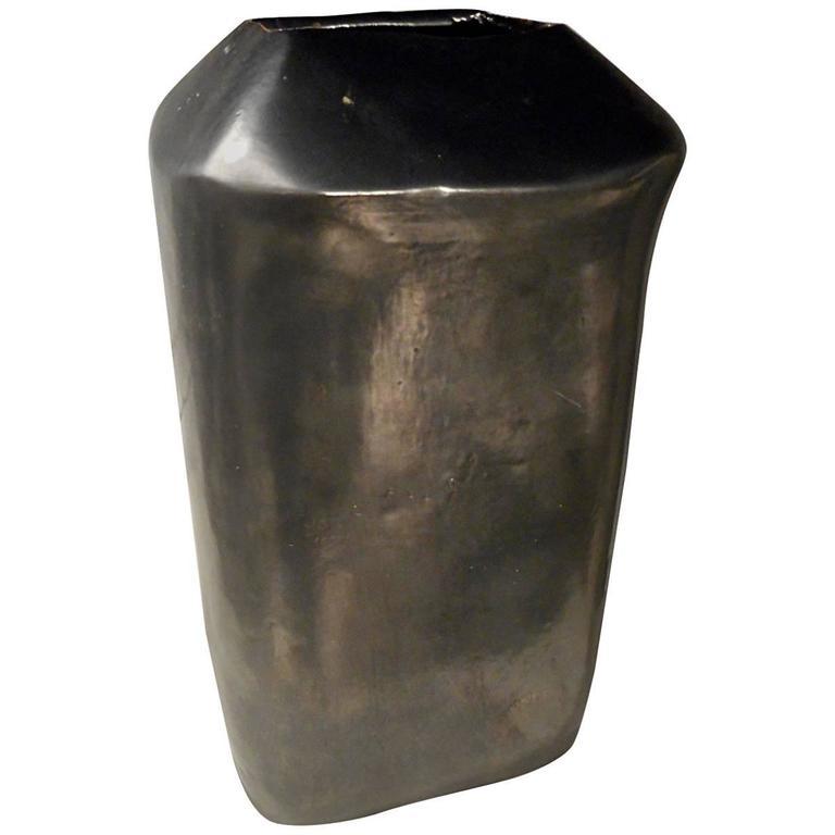 Fine Black Glazed Ceramic Vase in the Style of Georges Jouve