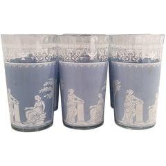 Vintage Greek Goddess Wedgewood Blue Drink Glasses, Set of Six