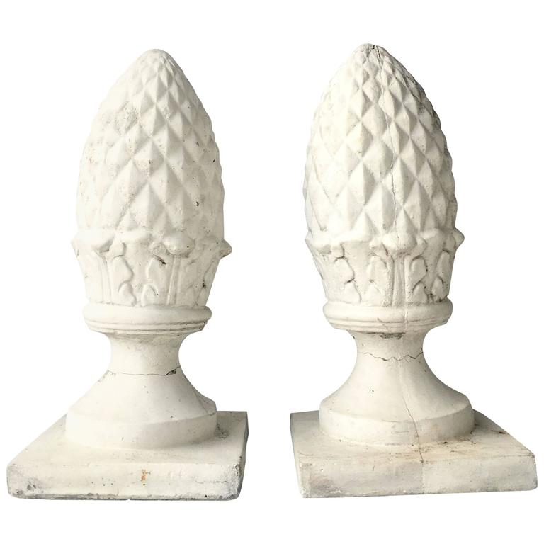 Vintage Pair of Painted Cast Stone Cone Finial Sculptures