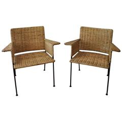 Pair of 1950s Van Keppel Green Iron and Cane Chairs