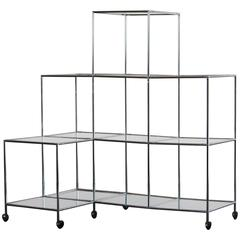 "Poul Cadovius ""Absracta"" Chrome and Glass Shelving Unit"