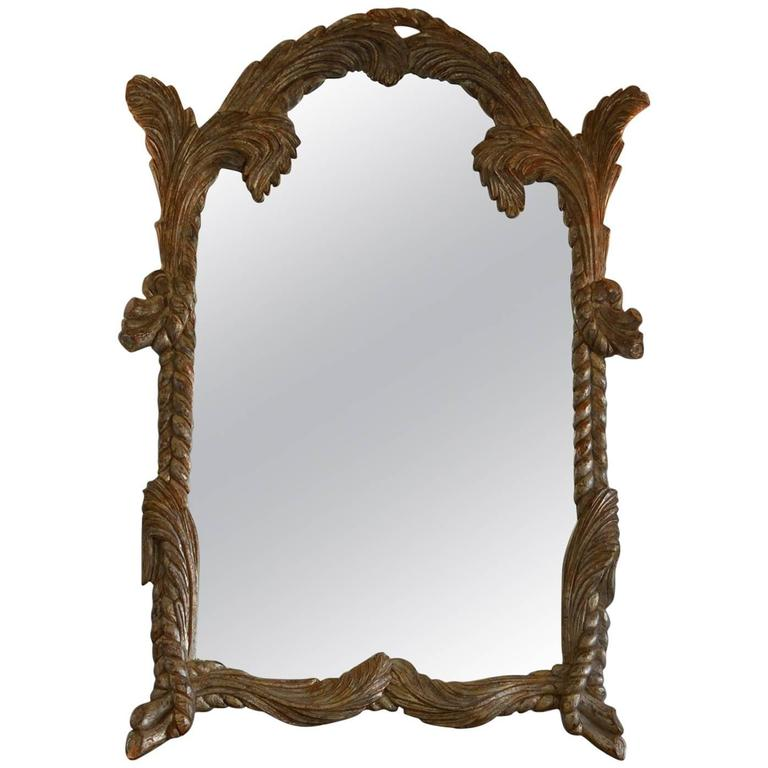Large silver gilt carved wood mirror by labarge for sale Large wooden mirrors for sale