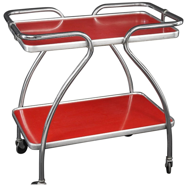 Mid-Century Bar Cart, Chrome Frame and Laminate Shelves For Sale