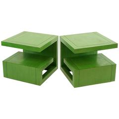 Very Chic Pair of Apple Green Greek Key Form Side Tables or Coffee Tables