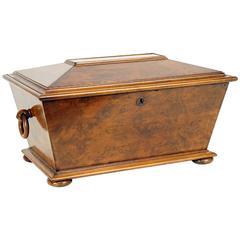 Handsome English Burled Walnut Humidor Box