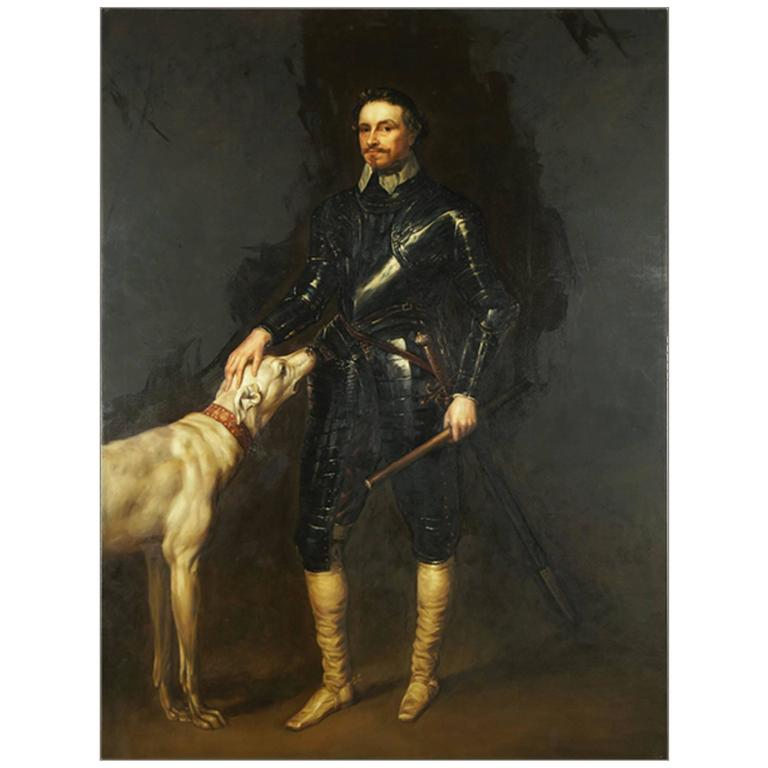 Monumental Nobleman in Armor with Dog, Very Dramatic, Contemporary For Sale