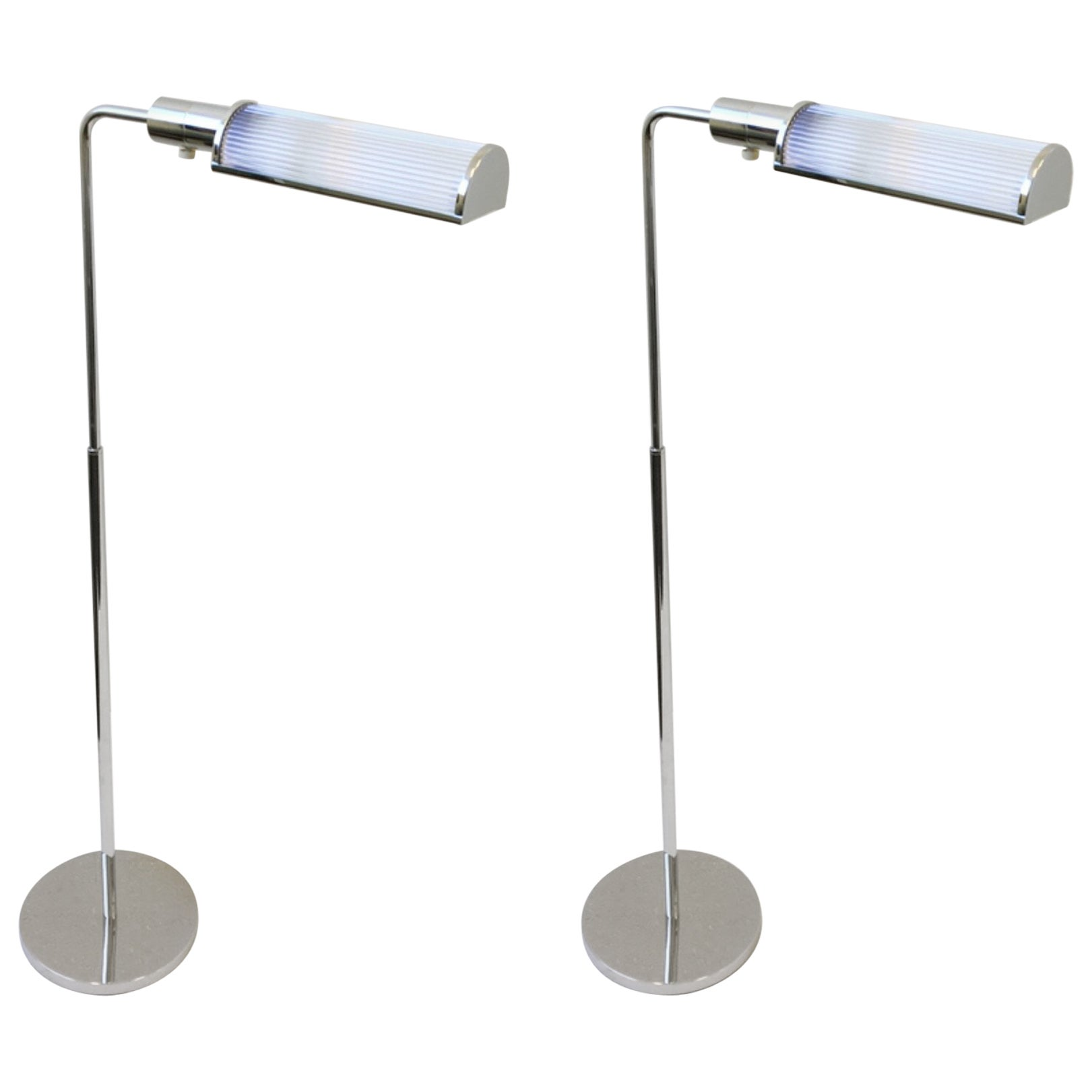 Pair of Chrome and Glass Adjustable Floor Lamps by Casella