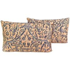 Vintage Fortuny Pillows in Ucelli Patern