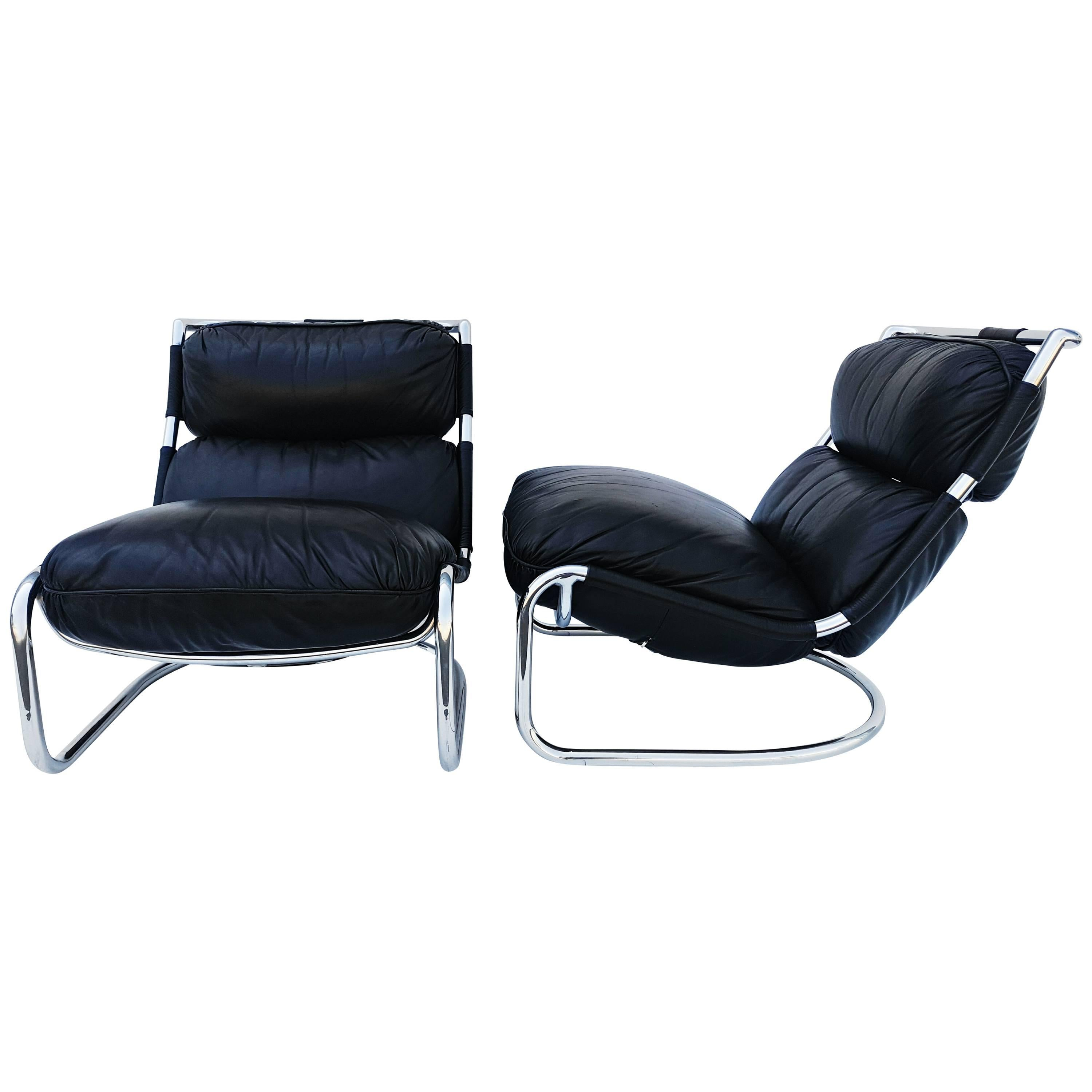 Pair of Italian Leather Lounge Chair, 1970s