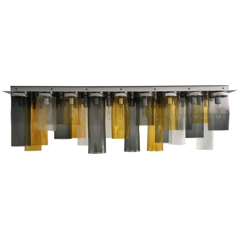 Handblown Cylinder Murano Glass Flush Mount Chandelier