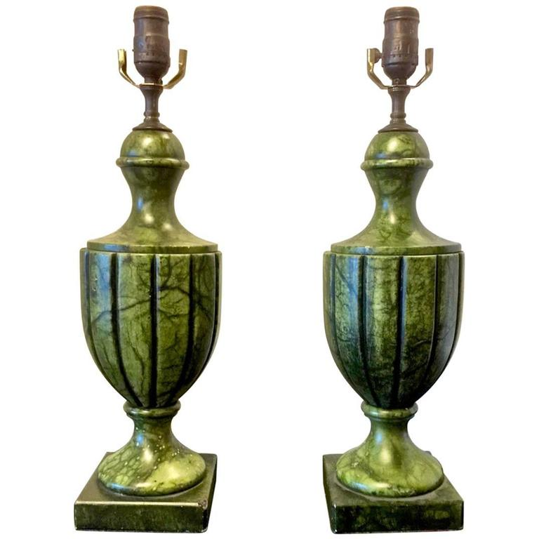 Pair of Green Carved Urn-Form Alabaster Lamps