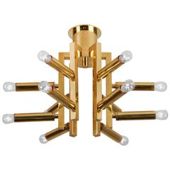 Twelve-Arm Brass Flush Mount Ceiling Light