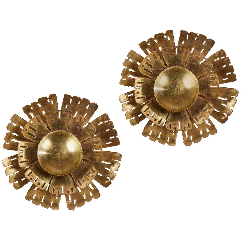 Pair of Brass Ceiling or Wall Lights by Svend Aage Holm-Sørensen