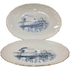 Vintage Portugal Pair of Ceramic Blue and White Oval Serving Platters by Spal