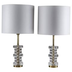 Pair of Mid-Century Swedish Table Lamps by Carl Fagerlund for Orrefors
