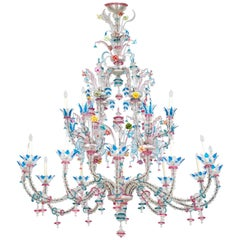Italian Venetian, CaRezzonico Chandelier, blown Murano Glass, G. Ferro, 1960s