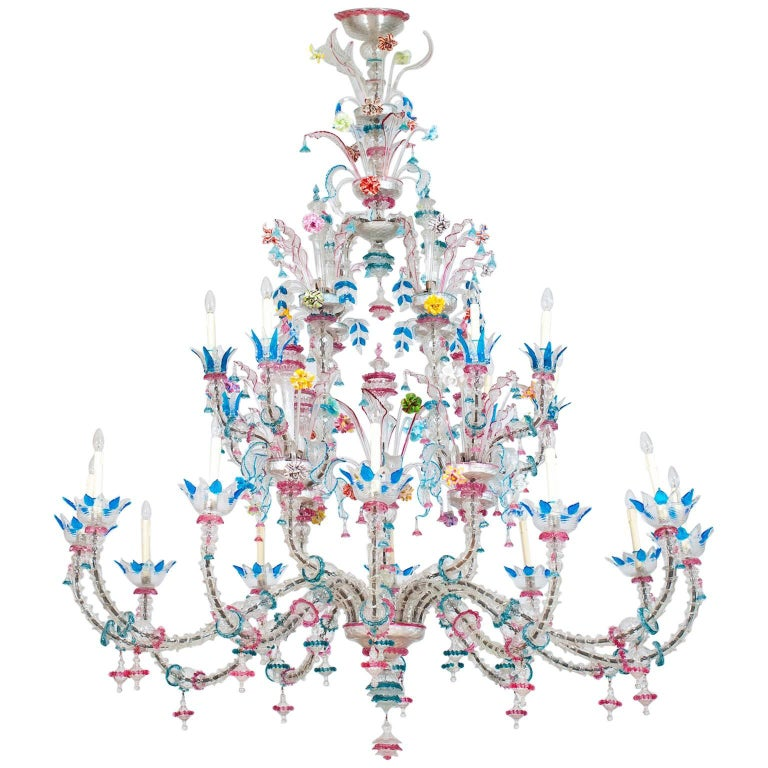Galliano Ferro Murano glass chandelier, 1960s, offered by Vintage Murano Gallery
