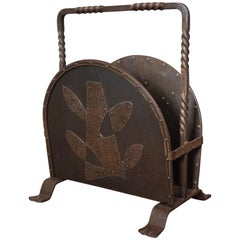 Unique Mid-Century Hand-Forged Wrought Iron Magazine Stand with Stylized Tree