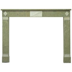 Green Marble Fireplace with White Inlays, Directoire Style