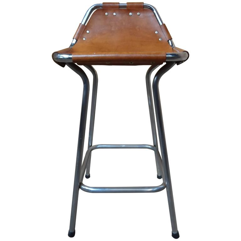 Sought after ''Hourglass Framed'' Leather Charlotte Perriand Stool Les Arcs For Sale