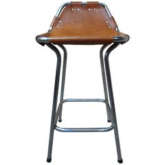 Sought after ''Hourglass Framed'' Leather Charlotte Perriand Stool Les Arcs
