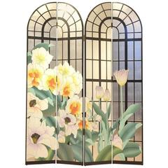 French Mid-Century Design Multicolor Painted Floral Room Divider Paravan Screen