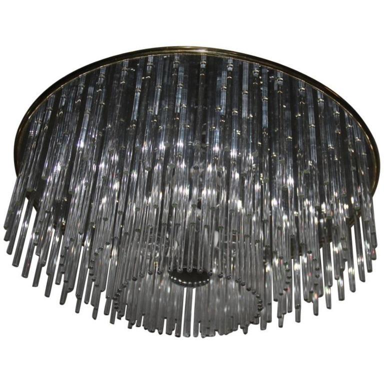 Modernist Ceiling Glass and Metal Design Minimal Sciolari