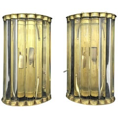 Amazing Brass and Murano Glass Wall Sconces, Italy, circa 1980