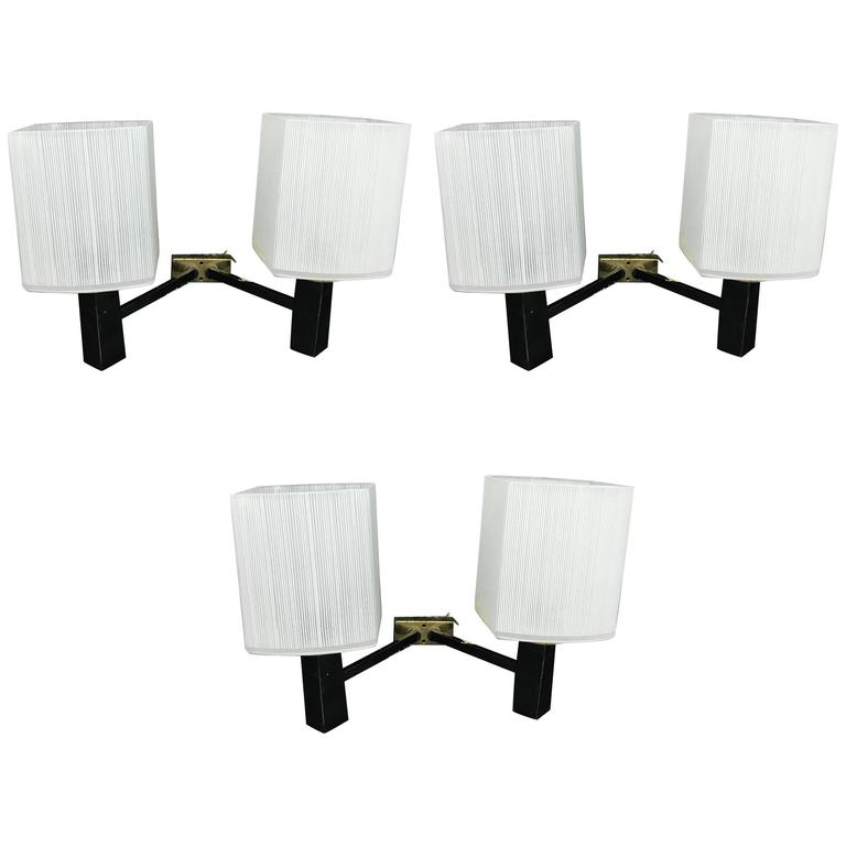Set of Three Mid-Century Modern Wall Sconces, Italy, 1950